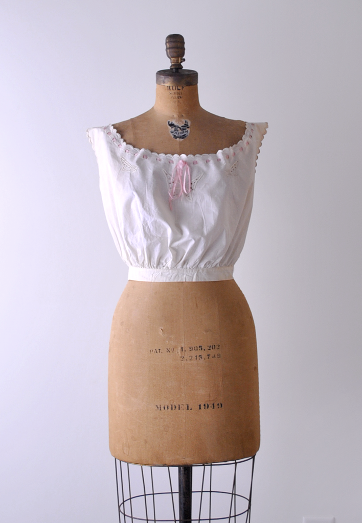 1900's Antique Pink and White Camisole