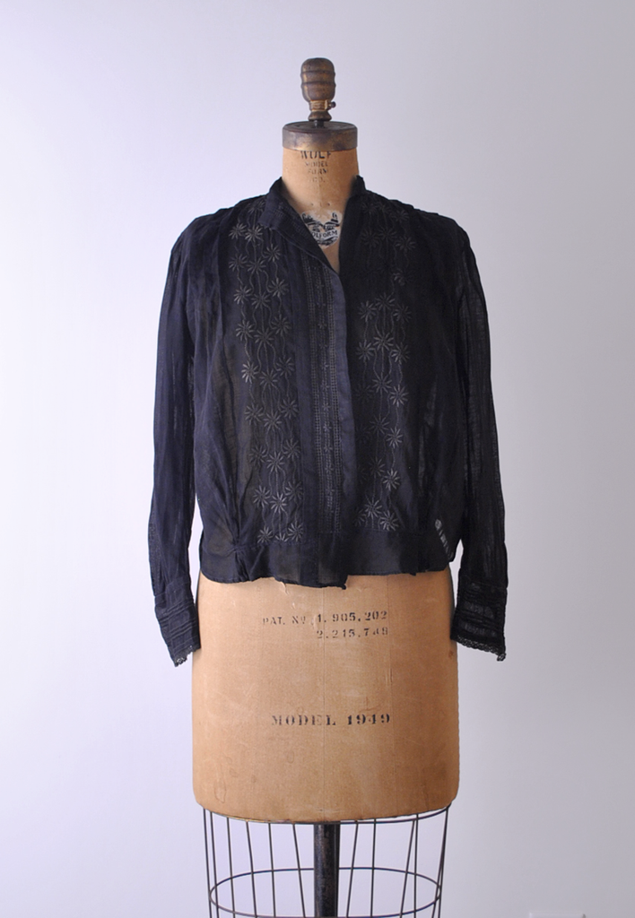1910's Black Cotton Blouse
