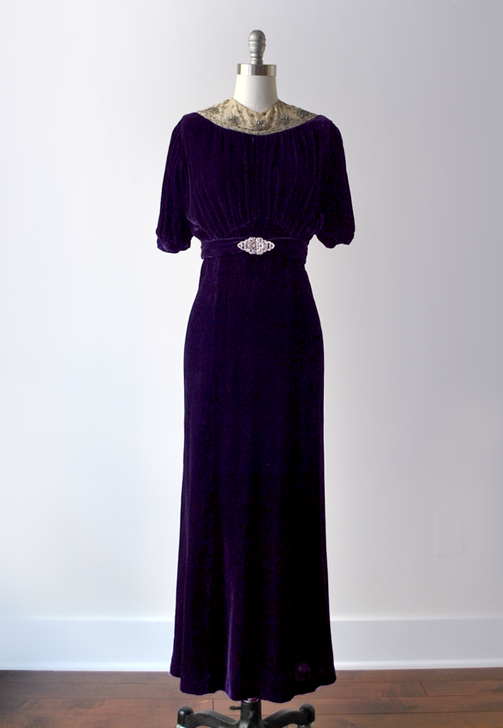 30's purple velvet gown