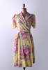 1940's Yellow & Pink Floral Print Robe Dress
