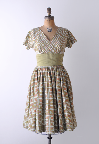 1950's Hildi Dress / Olive Green Patterned Dress