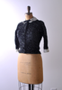 1950's Maxie Ford Sweater / Black Sequin Cardigan / Small