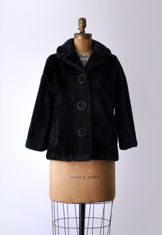 60's black faux fur coat