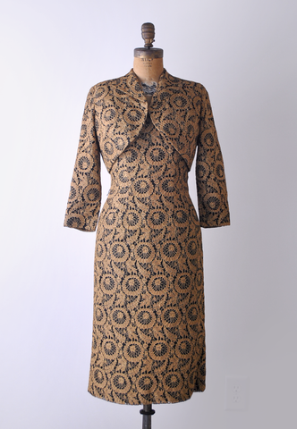 1950's gold & black wiggle dress