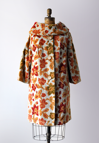 60's floral tapestry coat