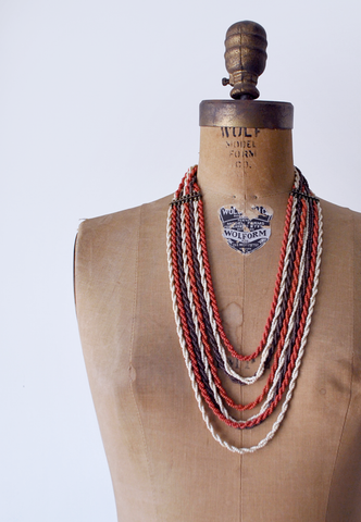 70's boho bead strand necklace