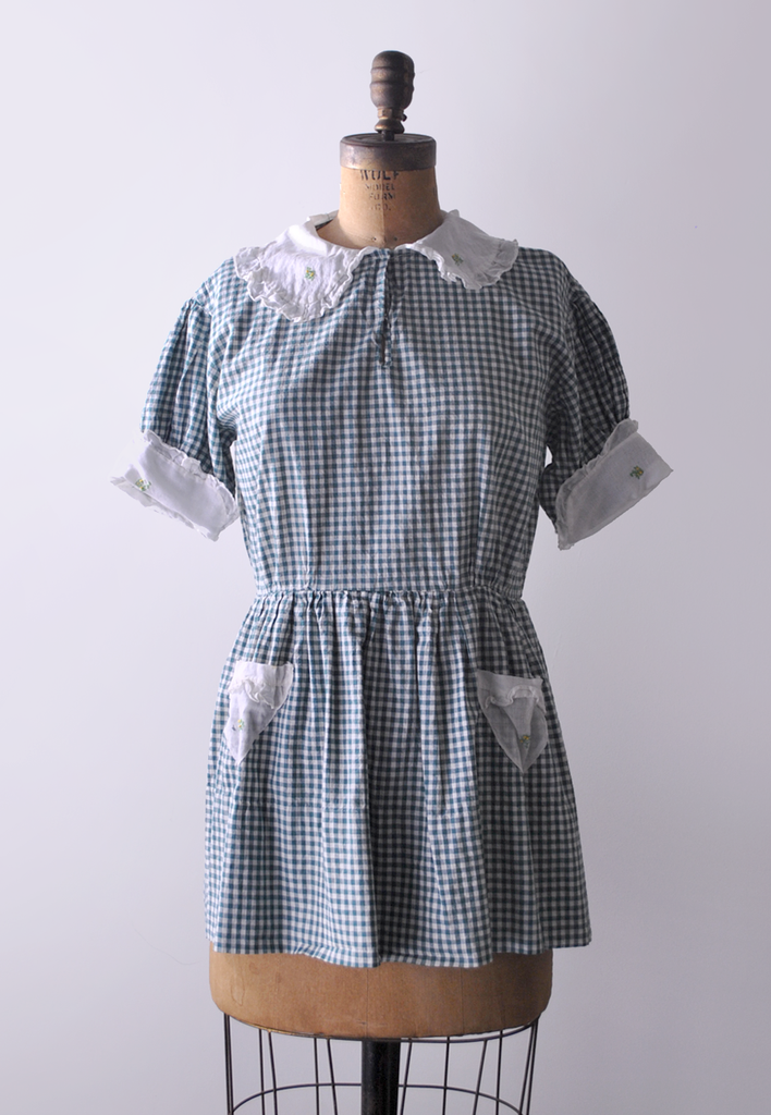 1930's Gingham Beach Top / Green & White Playsuit