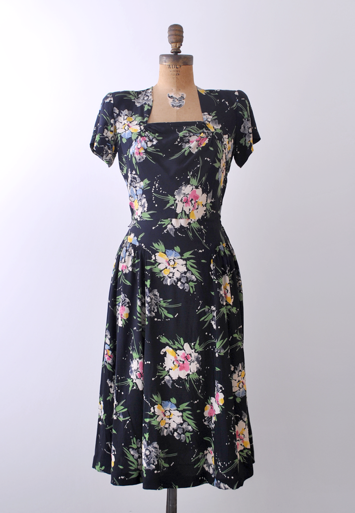 1940's Esmella Dress / Navy & Pastel Watercolor Print / M