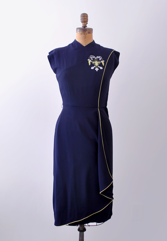40's gaberdine blue dress