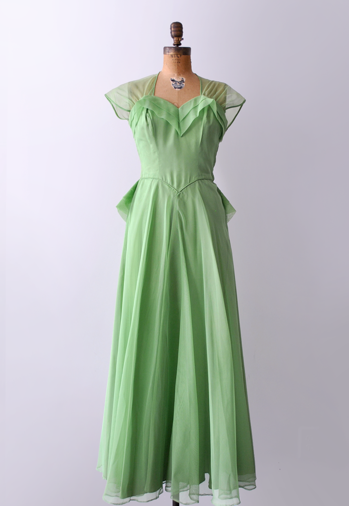 40's green sheer gown. size s