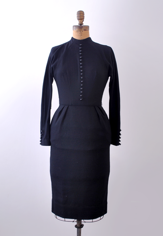 1950 mamselle black dress