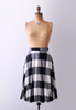 60's black and white plaid skirt. m.
