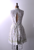 1960's Summer Daisy Print Dress / White Swiss Dot