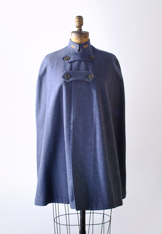 1950's Devera Nurses' Cape / Blue Wool Felt Coat