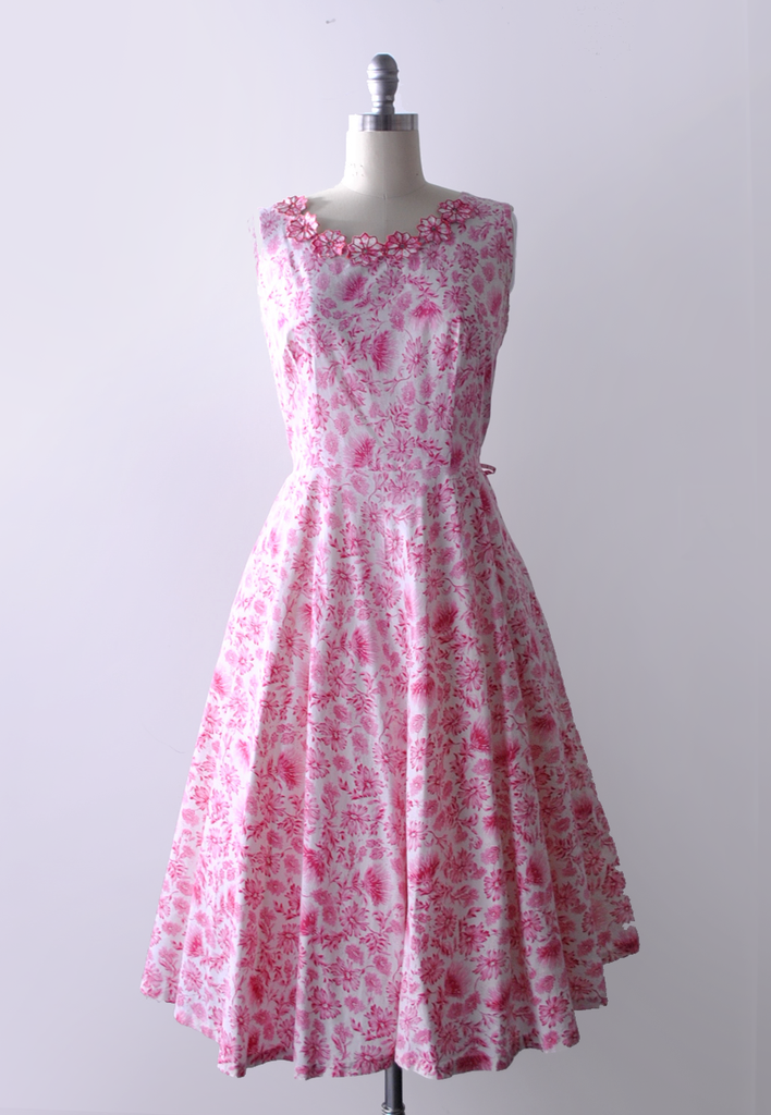 50's pink and white floral dress