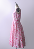 1950's Lewisia Jubilee Dress / White & Pink Floral Print