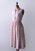 1950's Rose Stripe Pleated Dress / White & Pink