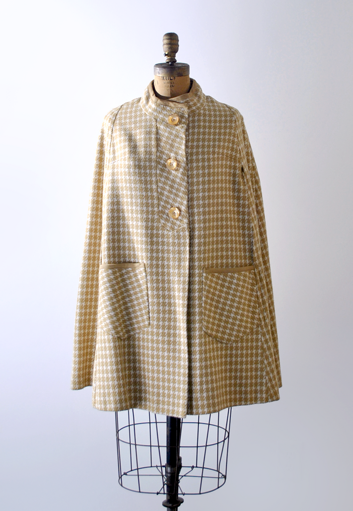 1960's yellow plaid wool cape