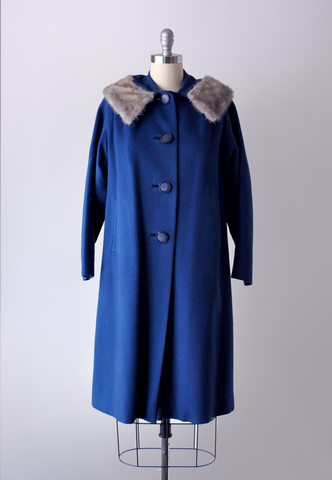 60's Royal Blue Wool Coat with Fur Collar