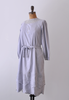 1990's India Linen Tunic Dress / Floral Embroidered / M