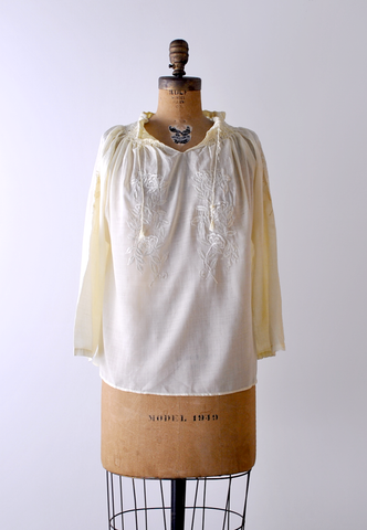 1970's Yellow Peasant Blouse by Heirloomen Vintage