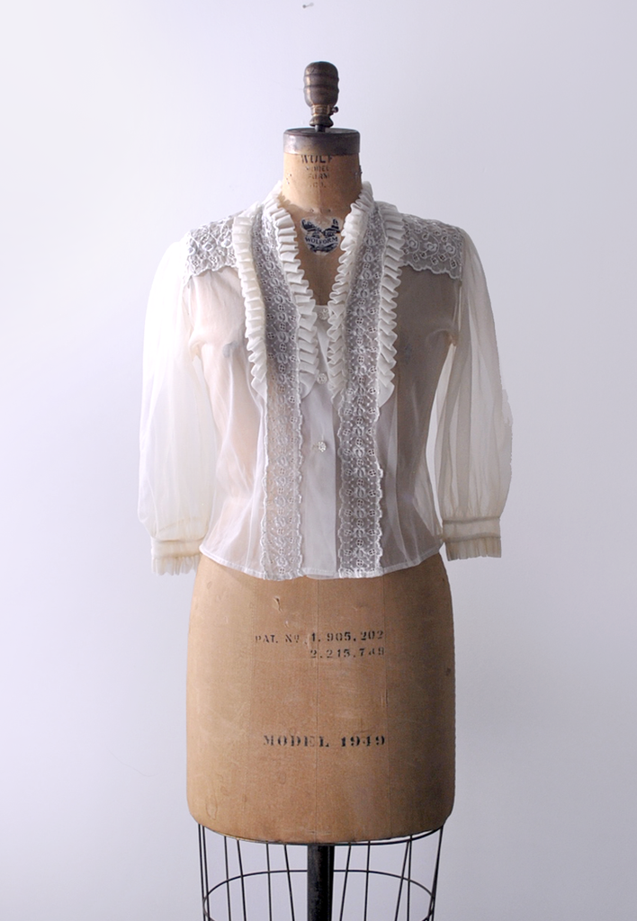 1960's New Baroque Ivory Blouse / Sheer Ruffled Top