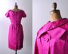 Hot Pink Jetsetter Dress / 1960's Pink Satin Sheath Dress with Jacket