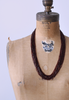 1920's Maroon Glass Beaded Strand Necklace / Art Deco