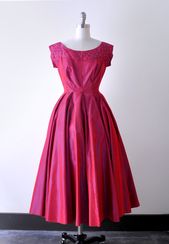 50's hot pink party dress