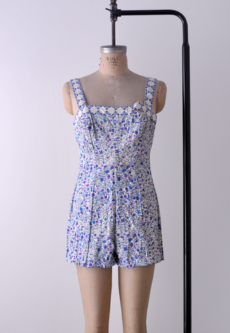 1950's Jantzen Floral Bathing Suit / Purple Blue White / L