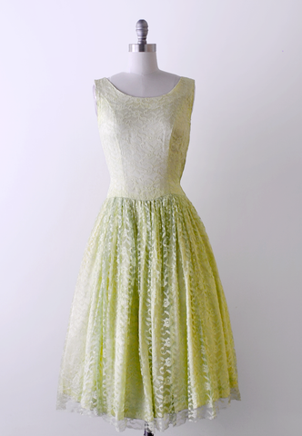 50's Lace Green Dress