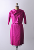 1960's Hot Pink Satin Dress with Cropped Jacket