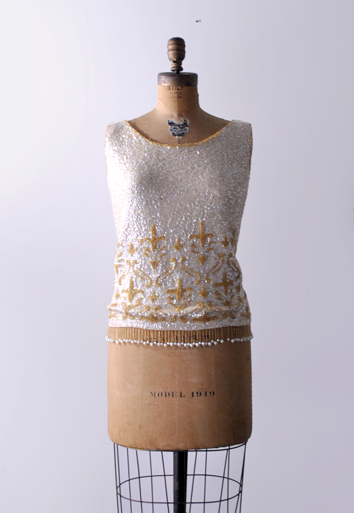 The French Royalist / 1960's Fleur-de-lis Beaded Top