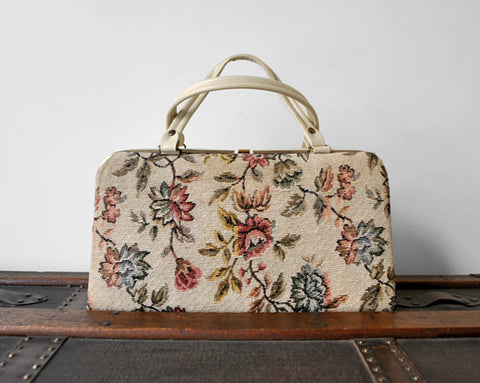 1960's Floral Tapestry Bag / Structured with Top Handle
