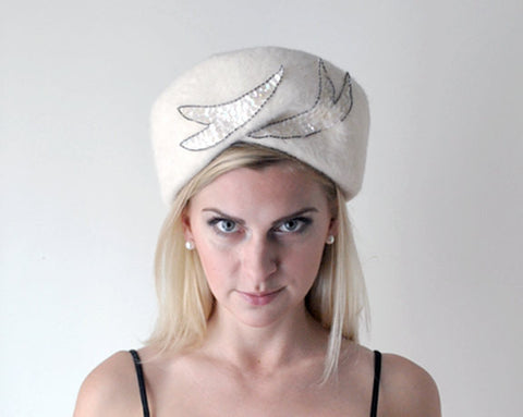 1960's Angora Winter Hat / Silver Sequins