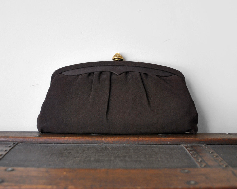 1950's Chocolate Brown Evening Clutch