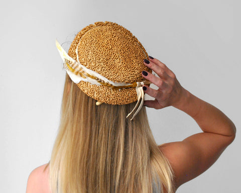 Lucky Feather Hat / 1940's Gold Beaded Cap