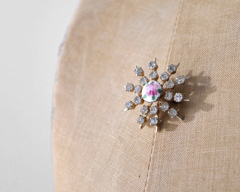 1940's Starburst Crystal Rose Pin