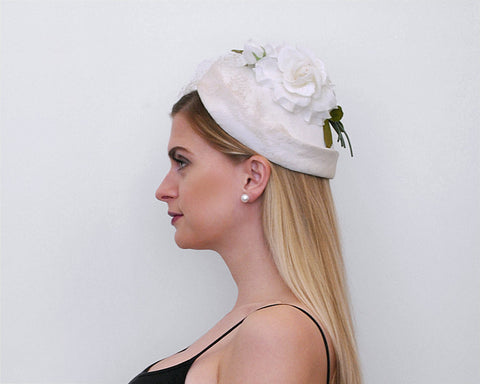 1960's Floral Bouquet Hat / White Roses