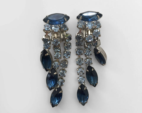 1940's Blue Crystal Drop Chandelier Earrings