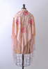 Light Pink Silk Piano Shawl / Floral Embroidered