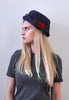50's navy blue and rose hat
