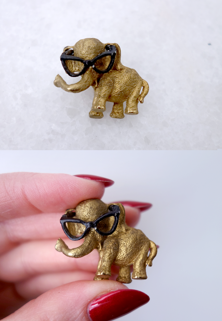 1950's Elephant with Glasses Novelty Pin