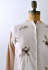 1960's Chai Dot Cardigan / Tan Floral Embroidered / M