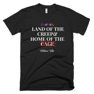Land of the Creep Home of the Cage Black Logo Print T-Shirt - Helluva Vibe Apparel
