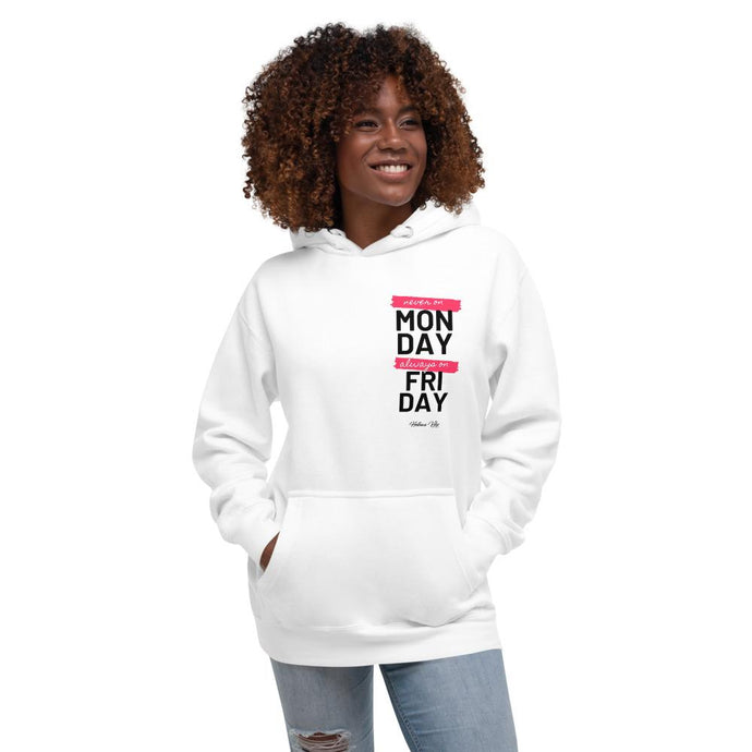 Always On A Friday White Hoodie - Helluva Vibe Apparel