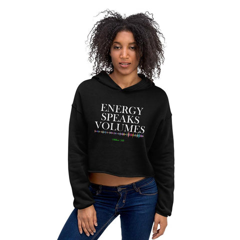 Energy Speaks Volumes Logo Print Crop Hoodie