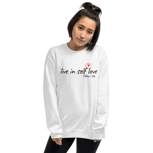 Live In Self Love White Crew Neck Sweatshirt - Helluva Vibe Apparel