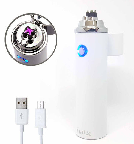 360 Electric Laser Plasma Lighter Matte White - Flux Lighters