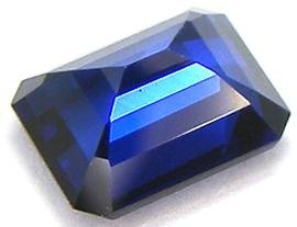 Blue Created Sapphire Octagon Facet Unset Gemstone 11mm x 9mm